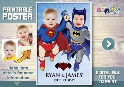 Super Babies Poster. Superman and Batman poster. Super Twins Poster. Custom Babies Superheroes Poster. Batman and Superman Poster. 363