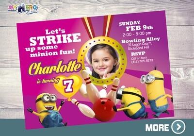 Pink Minions Bowling Party. Pink Minions Invitation. 043