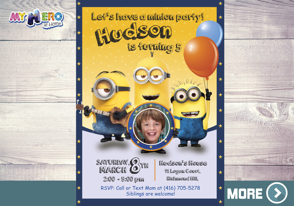 Minions Photo Invitation. Minions Birthday Ideas. 045