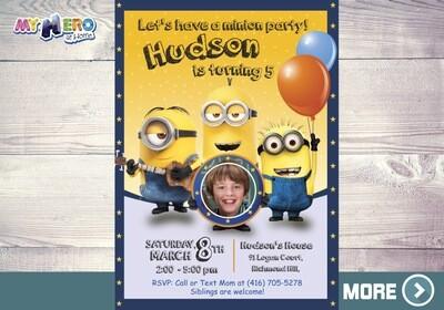 Minions Photo Invitation. Minions Birthday Ideas. 045