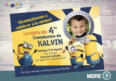 Minions Invitación de Cumpleaños. Fiesta Tema Minions. 042SP