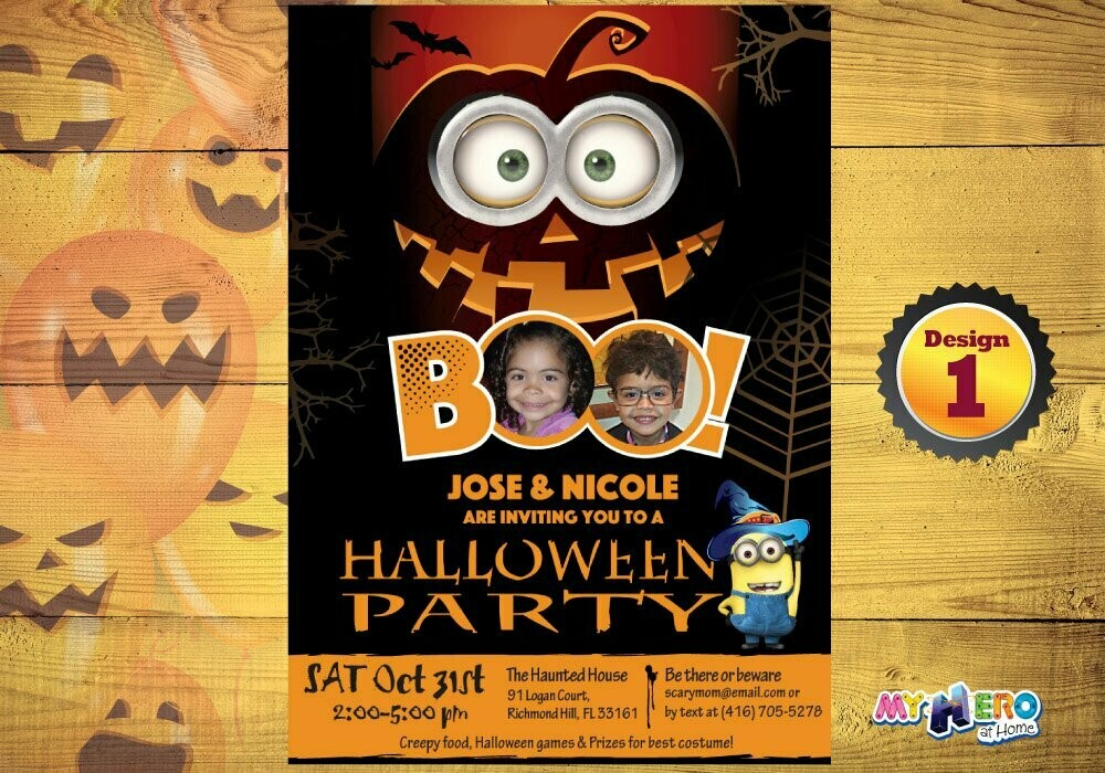 Halloween Party Invitation for Siblings. 050