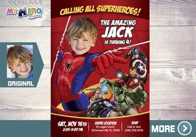 Spiderman Avengers Invitation. Spider-man Birthday Ideas. Spiderman Party Ideas. Invitación tema Spideerman. Spiderman Avengers Party. 103
