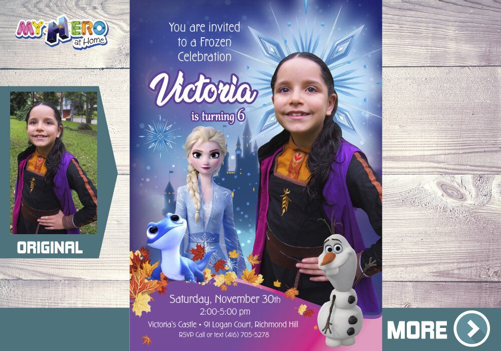 Anna Frozen 2 Invitation. Frozen 2 Party. Frozen 2 Invitation with your little girl in her Anna costume. 408