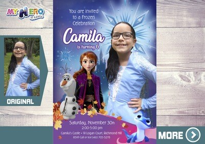Frozen 2 Invitation. Frozen 2 Party. Frozen 2 Invitation with your little girl in her Elsa costume. 407
