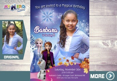Frozen 2 Invitation with your little girl in her Elsa costume. Frozen 2 Invitation. 409