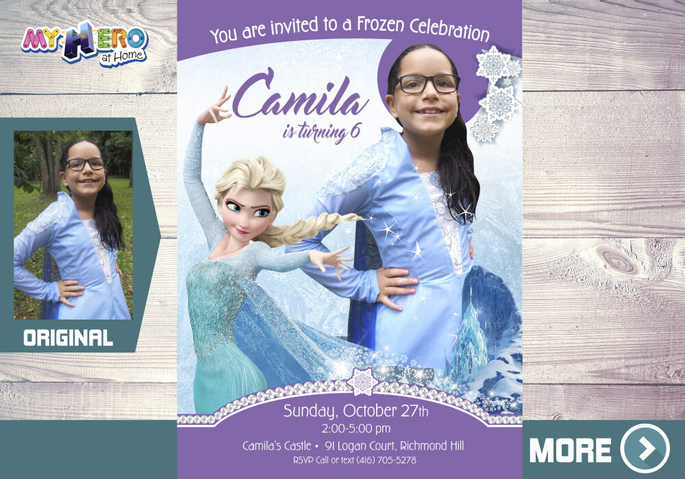 Frozen Party Invitation with your child in Elsa costume. Frozen Photo Invitation. 270B