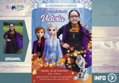 Invitación Frozen 2 con su niña como Anna. Invitación Frozen 2 con foto. 406SP