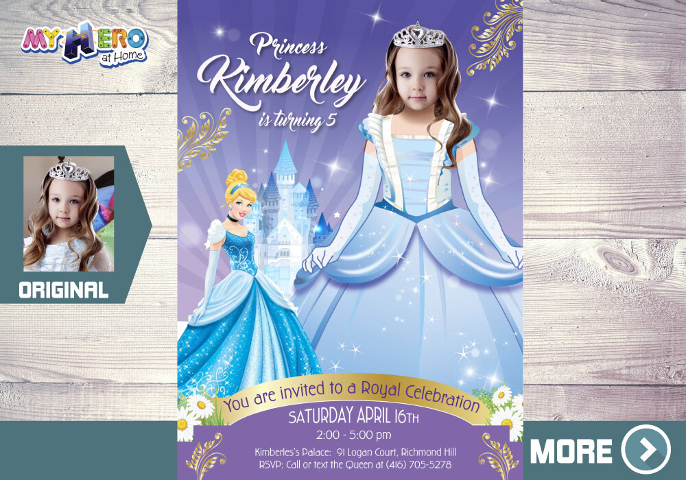 Cinderella Invitation. Cinderella Birthday Invitation. Cinderella Themed Party Ideas. Turn your little girl in the adorable Cinderella. 262