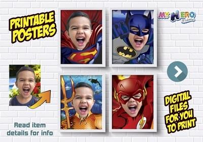 Justice League Posters. Posters of Superman, Batman, Aquaman and Flash. Superheroes Wall Decor. Justice League Decor. Superheroes Gifts. 411