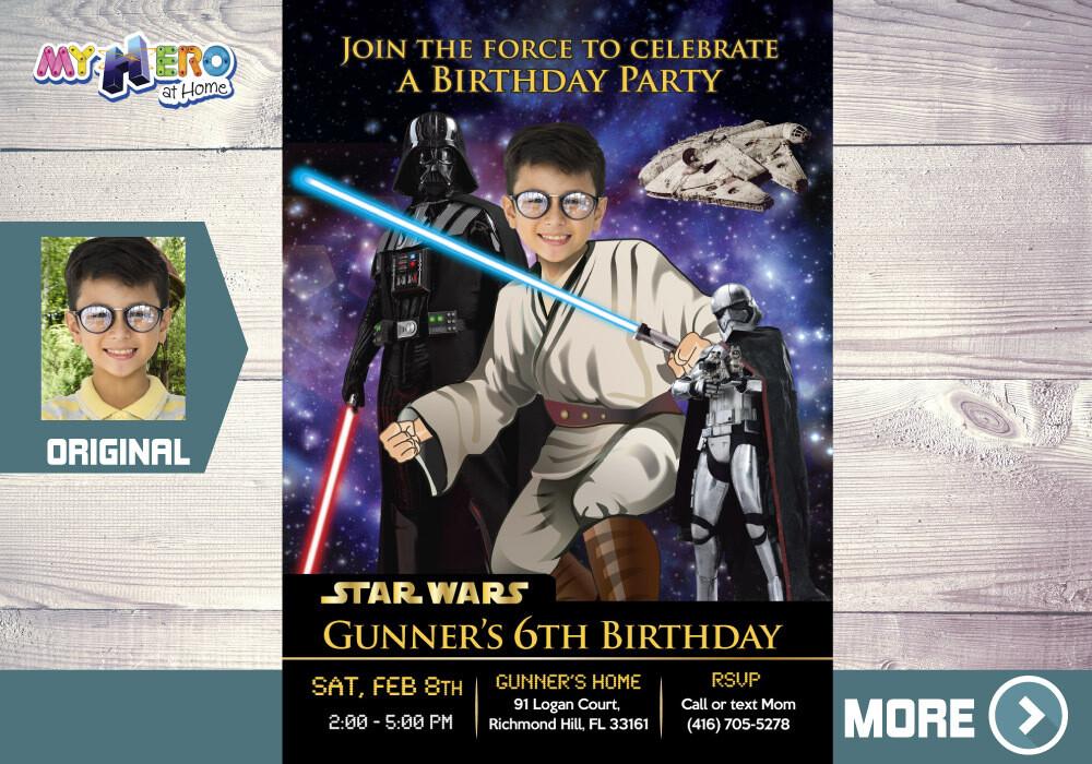 Star Wars Invitation. Turn your kid into a Jedi. Star Wars Party. Jedi Birthday Invitation. Star Wars Birthday. Jedi Decoration. 214