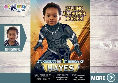 Black Panther Invitation. Turn your child into the Black Panther. Black Panther Party. Black Panther Birthday. Black Panther costume. 160