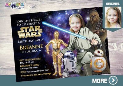 Star Wars Invitation for Girls. Your girl as a Jedi. Girl Star Wars theme Party Ideas. Jedi Girl Invitatiom. Girly Star Wars Party. 021