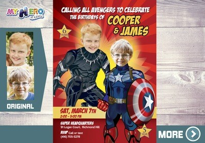 Black Panther and Captain America Invitation. Siblings Avengers Party. Captain America and Black Panther Party. Joint Avengers Party. 164