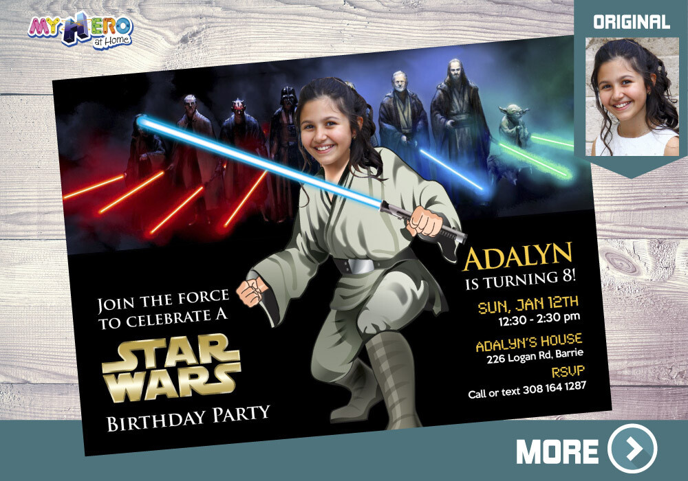 Girly Star Wars Invitation. Turn your girl into a Jedi. Star Wars Party Ideas for girls. Jedi Girl party. Girl Star Wars Birthday Girl. 025