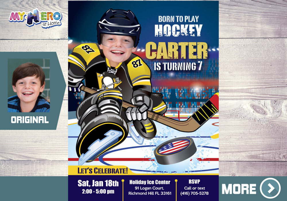 Pittsburgh Penguins Invitation. Pittsburgh Penguins Birthday Party. 320
