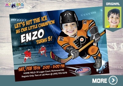 Philadelphia Flyers Invitation. Philadelphia Flyers Birthday Party. 305