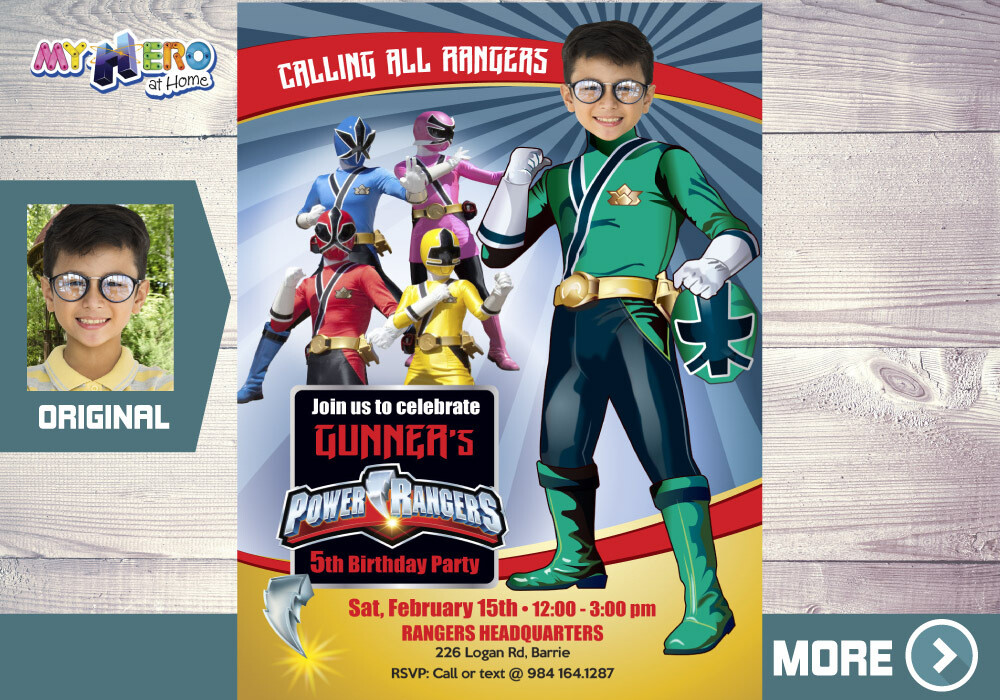 Green Power Rangers Invitation. Power Rangers Party Invitation. 415