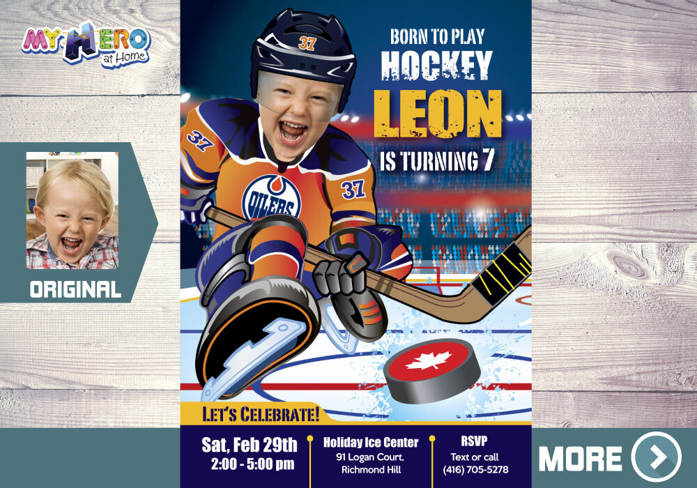 Edmonton Oilers Invitation. Edmonton Oilers Birthday Party. 331