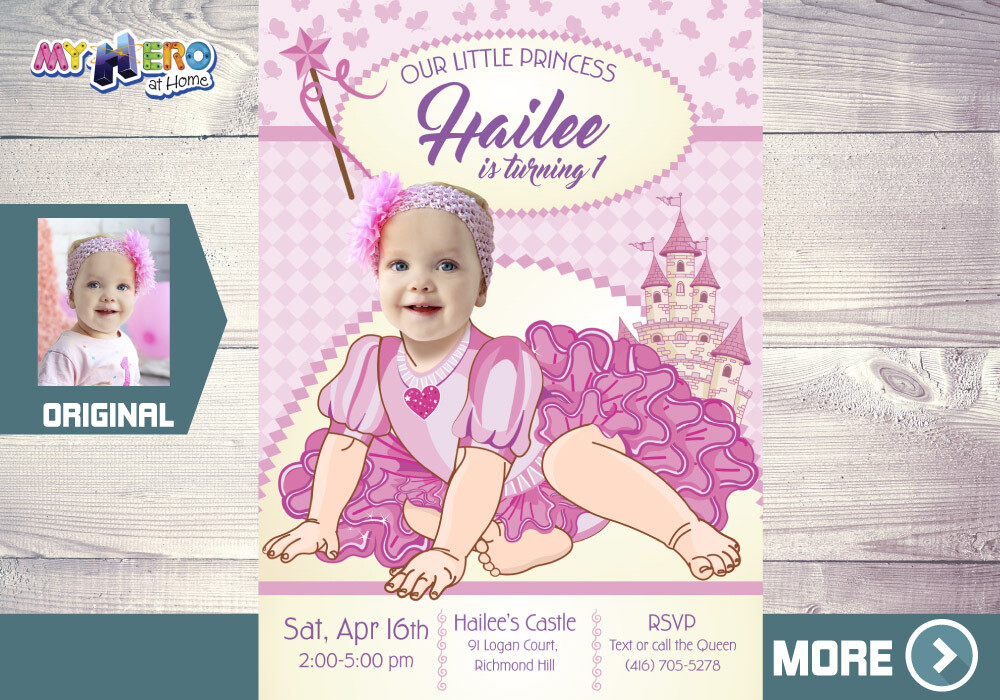Princess 1st Birthday Invitation. Baby Princess Party. Princess 1st Birthday. Princess first invitation. Baby Princess Party Ideas. 244