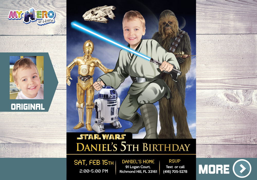 Star Wars Invitation. Jedi Birthday Ideas. Your child as a Jedi with R2-D2, C-3PO & Chewbacca. Star Wars Party. Jedi Invitation. 023