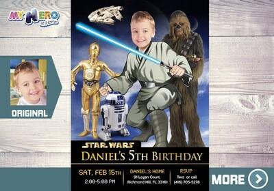 Star Wars Invitation. Jedi Birthday Ideas. Your child as a Jedi with R2-D2, C-3PO & Chewbacca. Star Wars Party. Jedi Invitation. 023