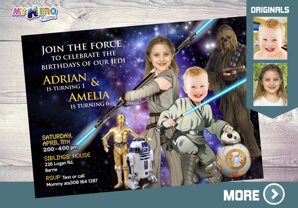 Star Wars Siblings Invitation. Joint Star Wars Birthday. Jedi Siblings Invitation. Joint Jedi Party Ideas. Joint Star Wars Party. 028B