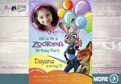 Zootopia Photo Invitation. Zootopia Party. Girly Zootopia Themed Party. 052