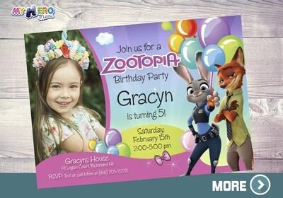 Zootopia Invitation with Photo. Zootopia Theme Party. 053