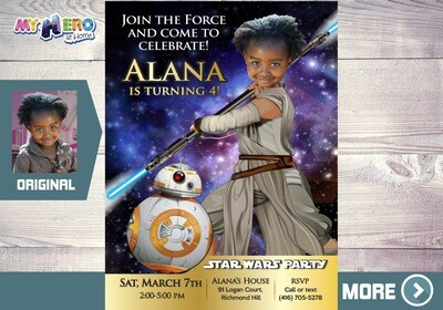 Star Wars Birthday Invitation for Girls. Your girl as Jedi Rey with BB-8. Star Wars Birthday Party Ideas. Star Wars Invitation Jedi Rey. 024