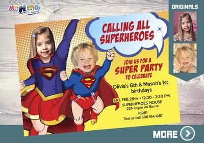 Joint superheroes Invitation. Superman & Supergirl Invitation. Brother and Sister Superheroes. Joint Superheroes Birthday Invitation. 118