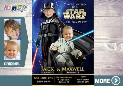 Joint Star Wars Invitation. Turn your children into Darth Vader and a Baby Jedi. Siblings Star Wars Party. Darth Vader and Jedi Party. 027