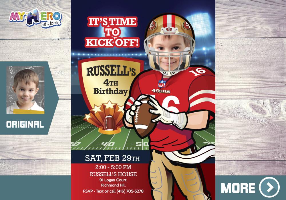 San Francisco 49ers Birthday Invitation. San Francisco 49ers Party. 420