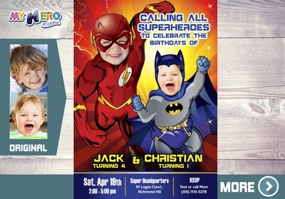 Flash and Batman Party Invitation. Flash and Batman Siblings Birthday. Joint Justice League Party. Batman and Flash Siblings Party. 176