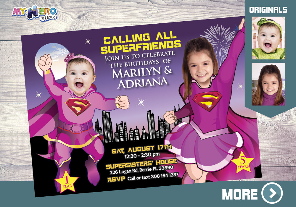 Pink Supergirls Invitation. Pink Supergirls Birthday. Super girls Party Ideas. Joint Super Sisters Party. Pink and Black Siblings Party. 299