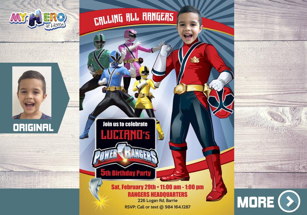 Power Rangers Party Invitation. Red Power Ranger Birthday Ideas. 001