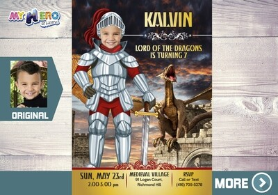 Dragons Invitation. Knights Party. Medieval Knight Party. 220