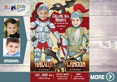 Knights Invitation for Siblings. Joint Medieval Knights Party. 221