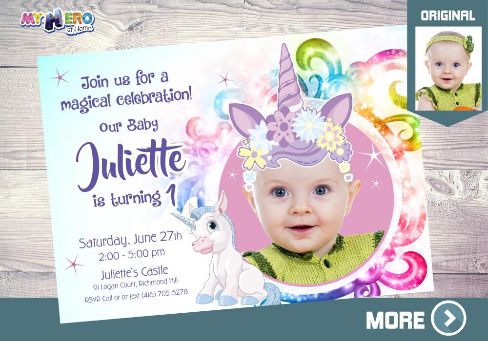 Baby Unicorn 1st Birthday Invitation. Unicorn-themed party. Unicorn first birthday. Unicorn birthday. Unicorn Invitation. Unicorn Party. 284