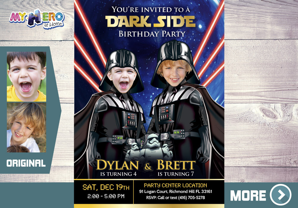 Joint Darth Vader Birthday. Dark Side Siblings Invitation. Joint Dark Side Party Ideas. Darth Vader Siblings Party. 2 Darth Vader Party. 424
