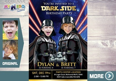 Joint Darth Vader Birthday. Dark Side Siblings Invitation. Joint Dark Side Party Ideas. Darth Vader Siblings Party. 2 Darth Vader Party. 424