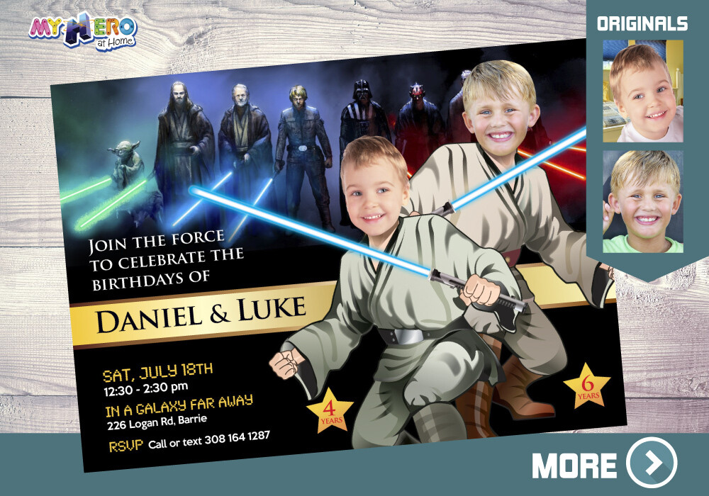 Joint Star Wars Invitation. Joint Jedi Party Invitation. Star Wars Siblings Party. Jedi Siblings Party. Turn your children into Jedi. 026
