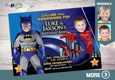 Batman and Spiderman Invitation. Joint superheroes birthday. Superheroes Birthday Invitation. Spiderman and Batman theme Party. 192