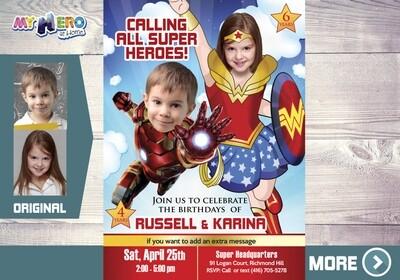 Iron Man and Wonder Woman Invitation. Superheroes Birthday Invitation. Joint superheroes party. Wonder Woman and Ironman Party. 172