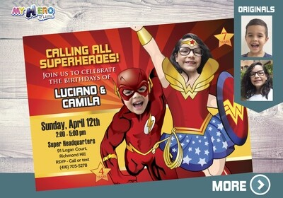 Flash and Wonder Woman Invitation. Wonder Woman and Flash Party. Joint superheroes Party. Super Siblings Party Invitation. 150