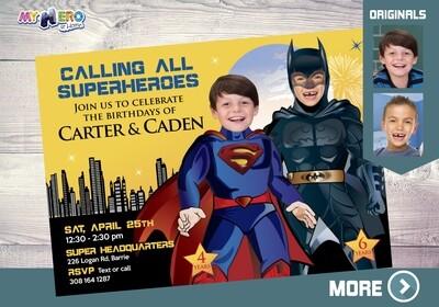 Superman and Batman Invitation. Batman and Superman Party. Joint Justice League Invitation. Superman and Batman Party Ideas. 069