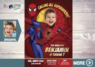 Spiderman Invitation. Spiderman Party. Spiderman Birthday. Spiderman Photo Invitation. Fiesta tema Hombre Araña. Spider-Man Invitation. 102