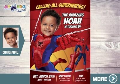 Spiderman Photo Invitation. Custom Spiderman Birthday Invitation. Invitación Fiesta Spiderman. Spider-Man Invitation. 136