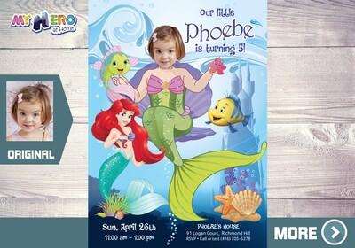 Little Mermaid Invitation. Little Mermaid Party. Little Mermaid Theme Party. Mermaid Birthday. Fiesta tema Sirenita. Mermaid Invitation. 239