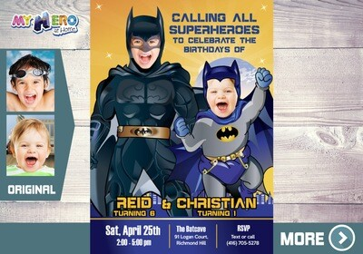 Batman Invitation for Siblings. Joint Batman Party. Batman theme Party. 071